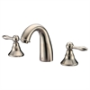 Dawn® AB13 1018BN 3-hole, 2-handle widespread lavatory faucet, Brushed Nickel (Standard pull-up drain with lift rod D90 0010BN included)