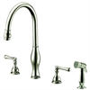 Dawn® AB08 3156BN 3-Hole, 2-handle widespread kitchen faucet with side spray, Brushed Nickel