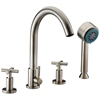 D03 2503BN 4-hole Tub Filler with Personal Handshower and Cross Handles