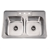 AST102 Top Mount Equal Double Bowl Sink With 3 Holes