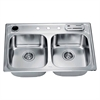 Dawn® AST3322 Top Mount Equal Double Bowl Sink (Included Accessories: Dawn® AST3322 Knife Shelf KS322 and Dawn® AST3322 Utensil Holder UH322)