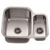 "Dawn® ASU111R Undermount Double Bowl Sink (25"" x 21"" x 10"") Small Bowl on Right"
