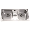 Dawn® CH365 Top Mount Equal Double Bowl Sink with Integral Drain Board and 1 Hole