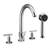 Dawn® D16 2503C 4-hole Tub Filler with Personal Handshower and Lever Handles