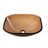 GVB84010SQ Tempered glass vessel sink-square shape, brown glass