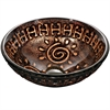 GVB86153 Tempered glass, hand-painted glass vessel sink-round shape, Copper and Gold