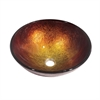 GVB86171 Tempered glass, hand-painted glass vessel sink-round shape, Gold and Brown