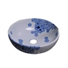 GVB87024 Ceramic, hand-painted vessel sink-round shape, Blue and white