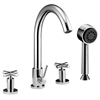D03 2503C 4-hole Tub Filler with Personal Handshower and Cross Handles