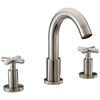 """Dawn® AB03 1513BN 3-hole widespread lavatory faucet with cross handles for 8"""" centers, Brushed Nickel (Standard pull-up drain with lift rod D90 0010BN included)"""