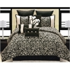 Carrington 10 pc King Comforter Set, Black/Ivory