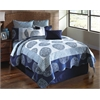 Dundee 9 pc Queen Quilt Set, Blue/Ivory