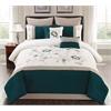 Country Manor Garrett 8pc King Comforter Set, Teal/Ivory