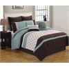 Teagan 8pc Queen Comforter Set, Blue/Brown/Ivory