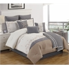 Templeton (Charlotte) King 10 pc Comforter Set, Ivory/Gray/Gold