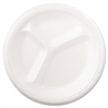 "Foam Dinnerware, Plate, 3-Comp, 8 7/8"" dia, White, 125/Pack, 4 Packs/Carton"