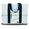 Newport Medium Tote, white w/blue trim