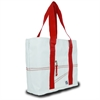 Newport Medium Tote, white w/red trim