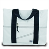 Newport Large Tote, white w/blue trim