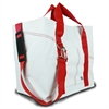Newport XL Tote, white w/red trim