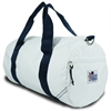 Newport Medium Round Duffel, white w/blue trim