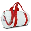 Newport Medium Round Duffel, white w/red trim