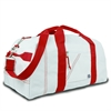 Newport Large Square Duffel, white w/red trim