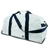 Newport XL Square Duffel, white w/blue trim