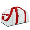 Newport XL Square Duffel, white w/red trim