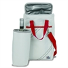 Newport Insulated 2-Bottle Wine Tote, white w/red trim