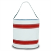 SailorBags Nautical Stripe Bucket Bag, white w/red stripes
