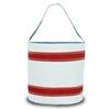 Nautical Stripe Bucket Bag, white w/red stripes