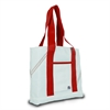 Newport Mini Tote, white w/red trim