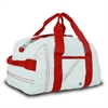 Newport Mini Duffel, white w/red trim