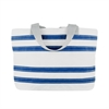 Nautical Stripe Medium Tote, white w/blue stripes