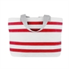 Nautical Stripe Medium Tote, white w/red stripes