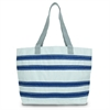 Nautical Stripe Large Tote, white w/blue stripes