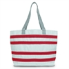 SailorBags Nautical Stripe Large Tote, white w/red stripes
