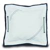 Newport Medium Pillow Cover, white w/blue trim