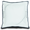 Newport Large Pillow Cover, white w/blue trim