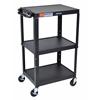 Adjustable Height Black Metal A/V Cart