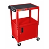 "Red 42"" Adj Height Cart w/ Cabinet"