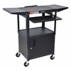 Luxor Adjustable Height Black Metal A/V Cart w/ Pullout Keyboard Tray, Cabinet & 2 Drop Leaf Shelves