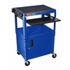 Adjustable Height Blue Metal A/V Cart w/ Pullout Keyboard Tray and Cabinet