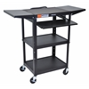 Luxor Adjustable Height Black Metal A/V Cart w/ Pullout Keyboard Tray & 2 Drop Leaf Shelves