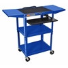 Luxor Adjustable Height Blue Metal A/V Cart w/ Pullout Keyboard Tray & 2 Drop Leaf Shelves