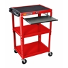 Adjustable Height Red Metal A/V Cart w/ Pullout Keyboard Tray