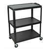 Luxor Extra Wide Steel Adjustable Height A/V Cart
