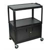 Extra Wide Steel Adjustable Height A/V Cart W/ Cabinet