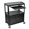 Extra Wide Adjustable Height A/V Cart W/ Keyboard Shelf & Cabinet